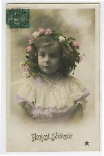 c 1910 French Child Children Little Girl tinted photo postcard