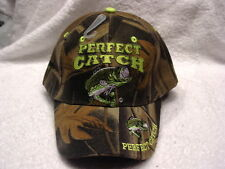 BASS FISHING PERFECT CATCH FISH FISHERMAN BASEBALL CAP HAT ( CAMOUFLAGE )