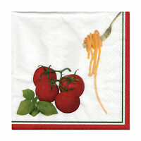 4  Servietten Napkins Tovaglioli Serviettentechnik Pasta & Tomaten (332)