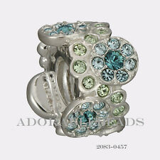 Authentic Chamilia Sterling Silver Green & Blue Daisy Bouquet Bead 2083-0457