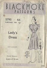 "1940s Jahre Vintage Nähen Muster B32 "" Kleid (R107)"