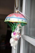 Retired Christopher Radko Easter Bunny Jump Parachute Blown Glass Ornament