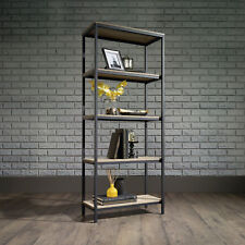 Industrial Style 4 Shelf Bookcase Black Steel Frame with Oak Effect Shelves Unit
