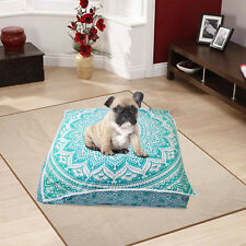 "35"" Floor Cushion Pillow Cover Green Mandala Extra Large Square Pet Bed Covers"