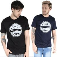 Skechers Mens Short Sleeve Crew Neck Stretchy Printed 100% Cotton Tee T Shirt
