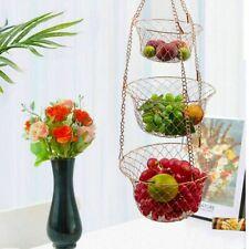 3-Tier Wire Hanging Basket Chrome Fruit Holder Vegetable Rack Kitchen Storage