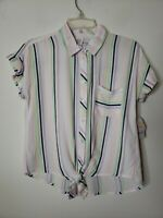 Wonder Nation Girls Button Front Size XL 14-16  Striped Tie Front New with Tags