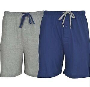Hanes Men's 2 - Pack Cotton Knit Sleeper Shorts Blue Gray