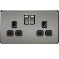 1 X SF9000BN - Knighstbridge 13A 2G DP Switched Screwless Socket - Black Nickel