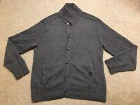 Banana Republic Sweater Grey Charcoal Buttons Pockets 100% Cotton Men's Size M