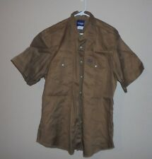 F11 Wrangler Rancher Work Men's 2X Heavy Tan Brown Western PEARL SNAP Shirt S/S