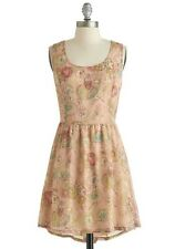 "Modcloth ""Skip to My Doodle"" Tan Sleeveless Floral Casual Cocktail Dress"
