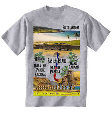 CHILE EASTER ISLAND - NEW COTTON GREY T-SHIRT