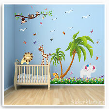 Animal Monkey Wall Stickers Jungle Zoo Lion Tree Nursery Baby Bedroom Decals Art