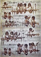 CIALDE di riso per Decoupage Scrapbook craft Sheet Music, Bambini, ANGELI 10