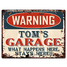 PPFG0154 WARNING TOM'S GARAGE Tin Chic Sign Home man cave Decor Funny Gift