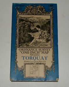 1932 OS Linen Map TORQUAY 1 mile/inch, 5th Edition Sheet 145