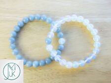 Couple Opalite/Angelite Natural Gemstone Bracelet 7-8'' Elasticated Healing