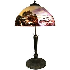 Early 20th c Art Nouveau Table Lamp With Reverse Painted Scenic Shade