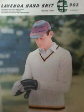 **Vintage LAVENDA Knitting Pattern**Mens CRICKET Pullover/Sweater**