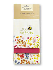 Cooksmart Bee Happy Pack of 3 Tea Towels Drying Cotton Nature Kitchen Dining