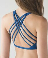 Lululemon Free To Be Wild Sports Bra Blue Strappy Size 6 Yoga Workout Top (6B)