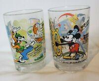 2 McDonald's Walt Disney World 100 Years Of Magic Glass Cup Mickey Mouse, Goofy