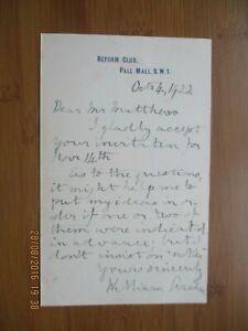 1922 WILLIAM ARCHER WRITER THEATRE CRITIC SIGNED AUTOGRAPH LETTER REFORM CLUB