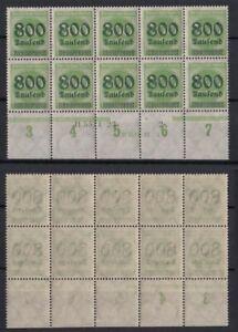 Deutsches Reich 304 A Unterrand 4er Block + HAN Ziffern 800 Tausend auf 300 M **