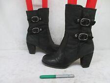 NAYA Black Leather Mid-Calf Zip Fashion Boots Size 9.5 M Lightning