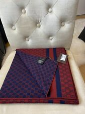 BNWT Authentic Gucci GG Guccissima Reversible Wool Scarf Navy With Red 30x200