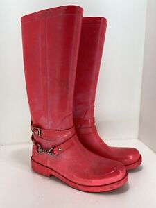 Coach Rain Boots 9 B Pink Lori Pull On Womens x