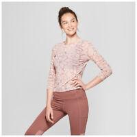 Women's Long Sleeve Printed Mesh Active Yoga Run Shirt - JoyLab Rose Pink Medium
