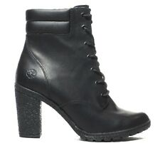 Timberland Women's Tillston Smooth Black Leather High Heel Boots Style A2B56