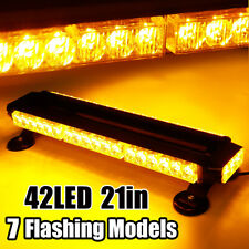 Amber 21'' 42 LED Traffic Advisor Emergency Warning Beacon Strobe Light Bar Lamp
