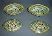Antique Chinese Rose Medallion Porcelain Tureens Rooster Covered Casserole Bowls