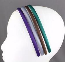 pack of 4 thin skinny satin fabric covered headband hair band accessory 3/8 wide