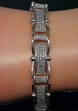"""10k Men's White Gold Bracelet With 2.26CT of Diamond 8.75"""" Long"""