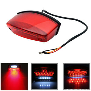 Red + White LED Motorcycle Rear Tail Brake Warning Light License Plate Lamp 12V