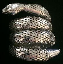 Whiting and Davis Silver Vintage 3 Coil Snake Bracelet
