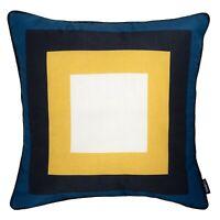 "Geometric Cushion Mustard Yellow Navy Blue Throw Pillow Sofa Case Cover 45cm 18"""