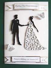 Personalised Handmade Wedding,Anniversary Card Bride,Groom & Butterflies