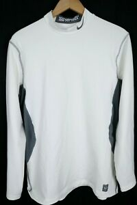 Nike Pro Combat Mens Size XL Hyperwarm Dri Fit Max Fitted White Shirt High Neck