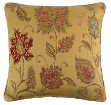 """CLASSIC WOVEN CHENILLE TAPESTRY FLORAL GOLD RED THICK CUSHION COVER 18"""" - 45CM"""