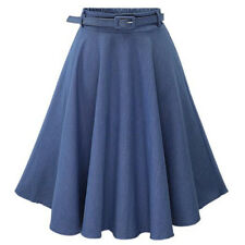 Women's Jeans A-line High Waist Long Midi Denim Flare Party Skater Skirt Dress