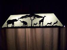 Laser cut Steel African Giraffe Elephant Pool Table Light Lamp hunt cabin BLACK