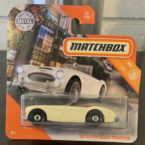 Matchbox 1963 Austin Healy Roadster CREAM COLOUR RED UPHOLSTERY Mint on Card