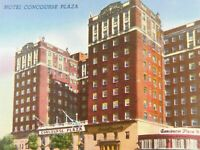 Hotel Concourse Plaza Classic Cars New York NY Linen Vintage Postcard