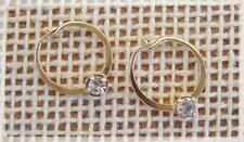 GOLD FILLED Tiny 11mm Hoop Earrings, set with 3mm Austrian Crystal.