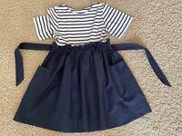 Kleid +++ Friboo +++ Gr. 152 Blau/weiß mit Taschen und Ärmeln - Ideal für Schule